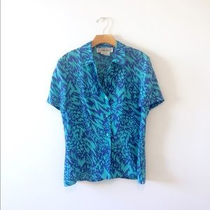 Vtg 80s Psychedelic Print Bright Blue Silk Top M